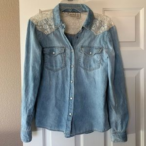 Women's denim button down